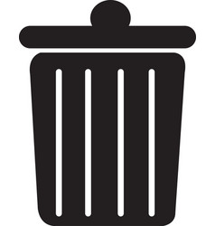 trash can rubbish bin flat icon vector image