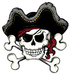 Vintage pirate skull theme 1 vector