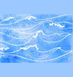 watercolor sea waves vector image
