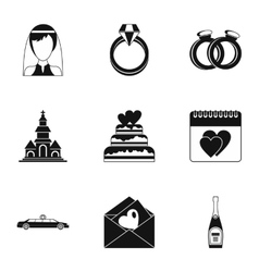 Wedding icons set simple style vector