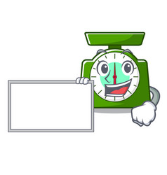 With board kitchen scale character cartoon vector
