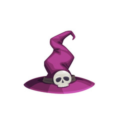 wizard or witch cap with creepy skull as buckle vector image