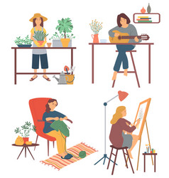 Woman at home playing guitar and drawing hobby vector