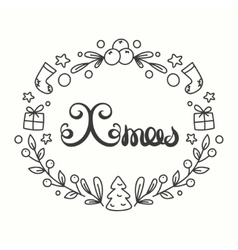 Xmas Card Winter Holiday Typography Handdrawn vector image