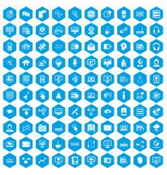 100 on-line seminar icons set blue vector