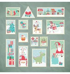 Christmas postage stamps vector