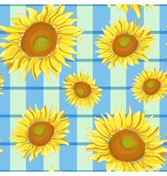 Floral seamless background with sunflowers eps10 vector image