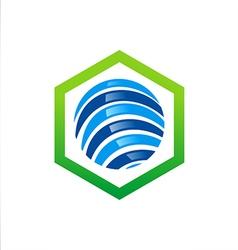 Globe abstract stripe logo vector