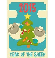 New Year Card with Cute Cartoon Sheep vector image