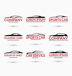 set of car logo design templates vector image