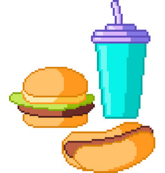 set of food icons in pixel style vector image