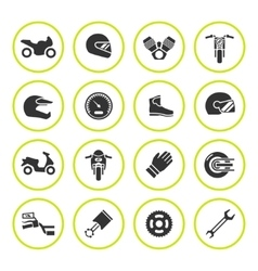 Set round icons of motorcycle vector image vector image