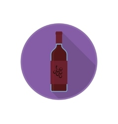 icon of alcohol bottle with old red wine vector image