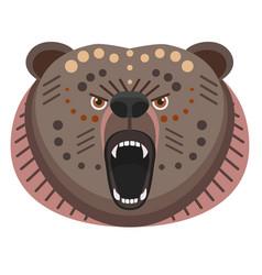 roaring bear head logo decorative emblem vector image vector image