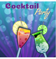 summer cocktails party banner invitation flyer vector image