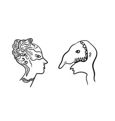 two masked profiles masquerade vector image vector image