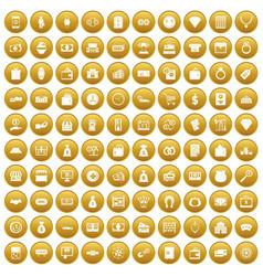 100 money icons set gold vector