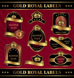 gold royal labeles vector image vector image