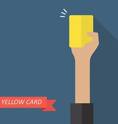 Hand of referee showing yellow card vector