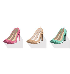 sexy lady shoes pumps set colorful summer vector image vector image