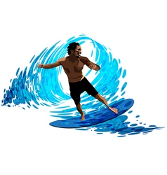 Surfer on waves vector image