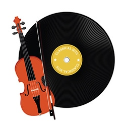 Vinyl record and violin vector image vector image