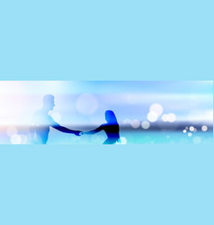 beautiful bokeh beach background with couple vector image vector image