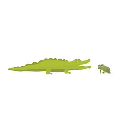 cute crocodile and frog aligator cartoon vector image