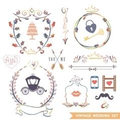 Cute retro floral set with doodle decorwedding vector image