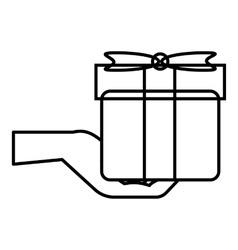 Hand holding a gift icon outline style vector image vector image