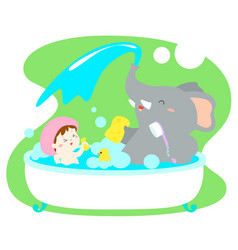 little girl take a bath with elephant in tub vector image vector image