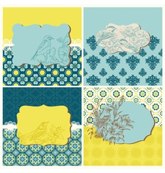 Set of Cards - Vintage Tiles and Birds vector image vector image