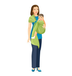 woman carries little baby boy in sling shoulder vector image vector image