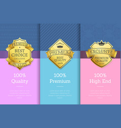 100 quality premium high end standard posters vector image