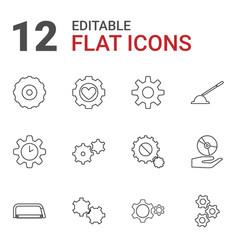 12 gear icons vector