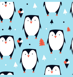 1hand drawing cute penguin seamless pattern vector