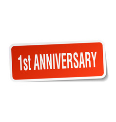 1st anniversary square sticker on white vector