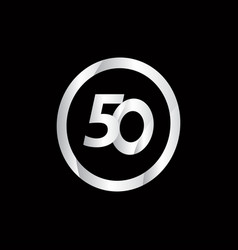 50 anniversary celebration circle silver number vector