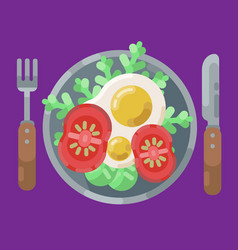 a hearty breakfast of fried eggs and fresh vector image
