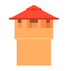 Ancient fort tower icon cartoon style vector