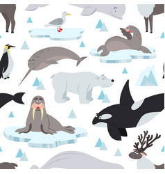 arctic animals pattern children animal antarctic vector image