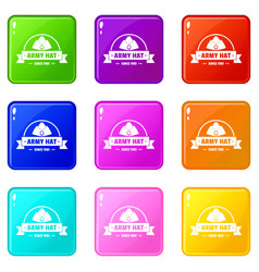 Army hat icons set 9 color collection vector