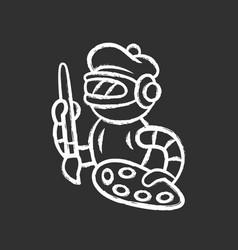 Art bot chalk icon robot cyborg with brush vector
