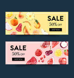 Banner design with fruits theme watercolor vector