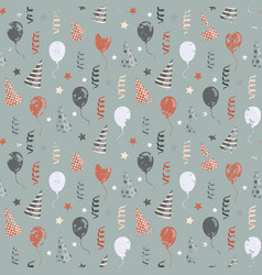 birthday pattern with balloonsribbon vector image