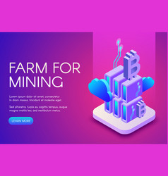 Bitcoin mining farm vector
