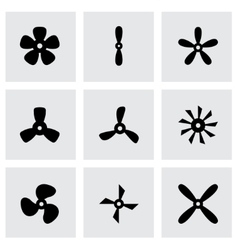 Black fans and propellers icon set vector