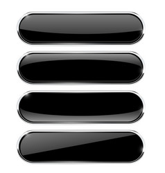 Black oval buttons with chrome frame vector