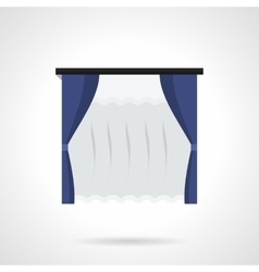 Blue window drapes flat color icon vector image
