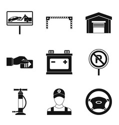 car breakdown icons set simple style vector image